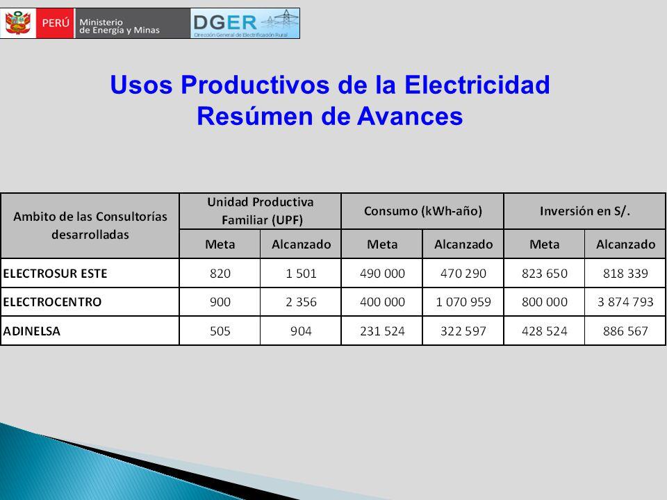 Usos Productivos de la Electricidad Resúmen de Avances