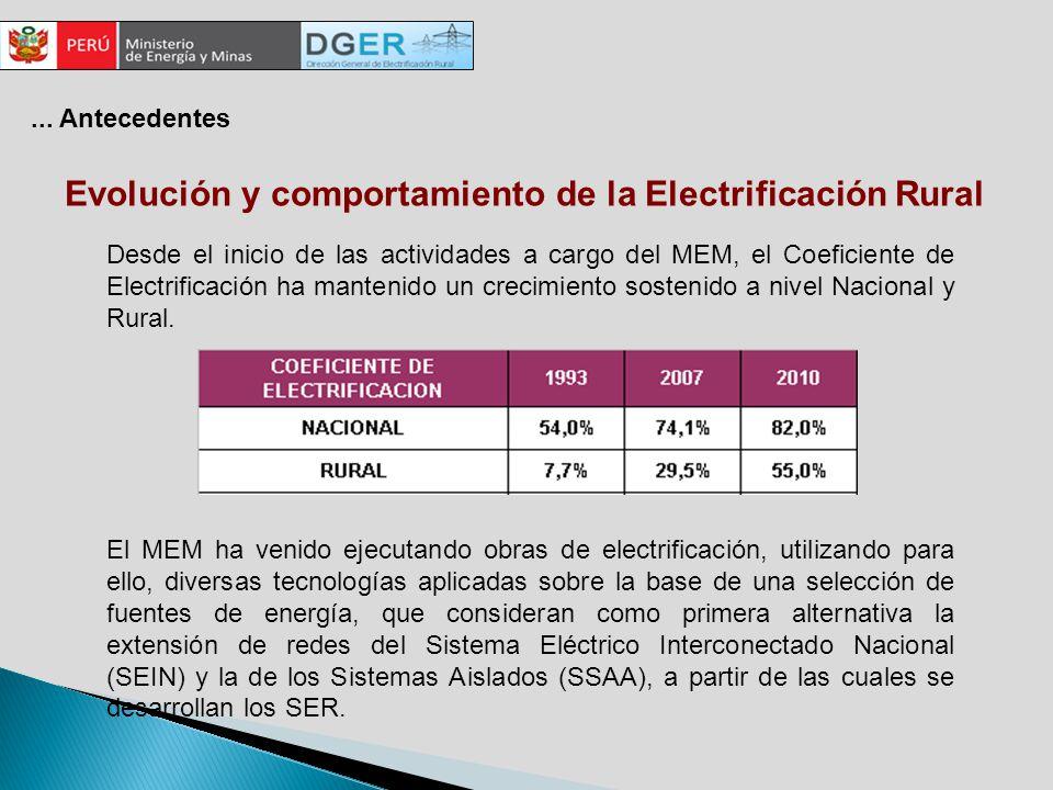 Evolución y comportamiento de la Electrificación Rural El MEM ha venido ejecutando obras de electrificación, utilizando para ello, diversas tecnologías aplicadas sobre la base de una selección de fuentes de energía, que consideran como primera alternativa la extensión de redes del Sistema Eléctrico Interconectado Nacional (SEIN) y la de los Sistemas Aislados (SSAA), a partir de las cuales se desarrollan los SER.
