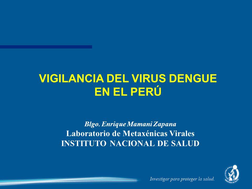 Blgo. Enrique Mamani Zapana Laboratorio de Metaxénicas Virales INSTITUTO NACIONAL DE SALUD VIGILANCIA DEL VIRUS DENGUE EN EL PERÚ