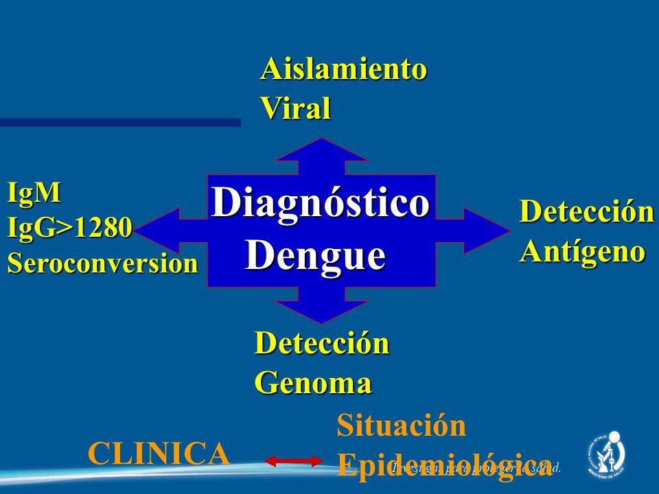 Diagnóstico Dengue Diagnóstico DengueIgMIgG>1280Seroconversion AislamientoViral DetecciónAntígeno Detección Genoma CLINICA Situación Epidemiológica
