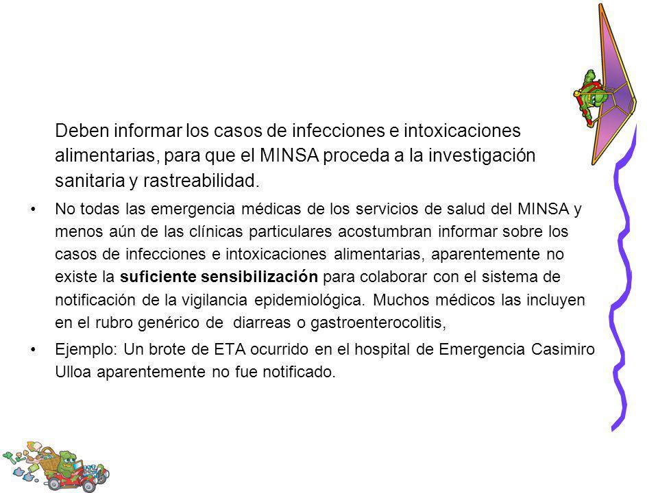 Deben informar los casos de infecciones e intoxicaciones alimentarias, para que el MINSA proceda a la investigación sanitaria y rastreabilidad. No tod