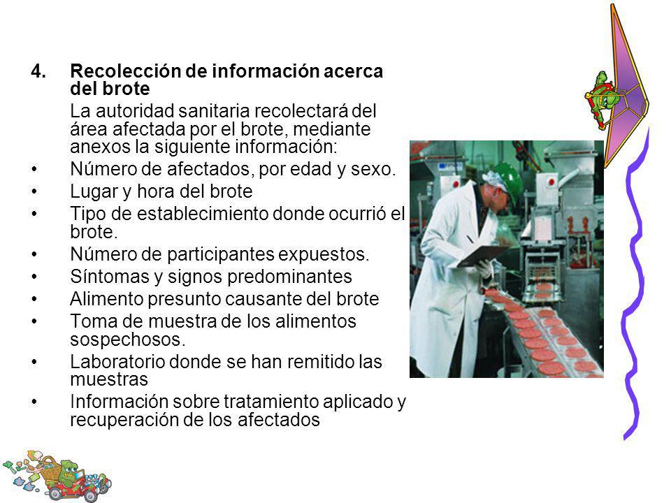 4.Recolección de información acerca del brote La autoridad sanitaria recolectará del área afectada por el brote, mediante anexos la siguiente informac