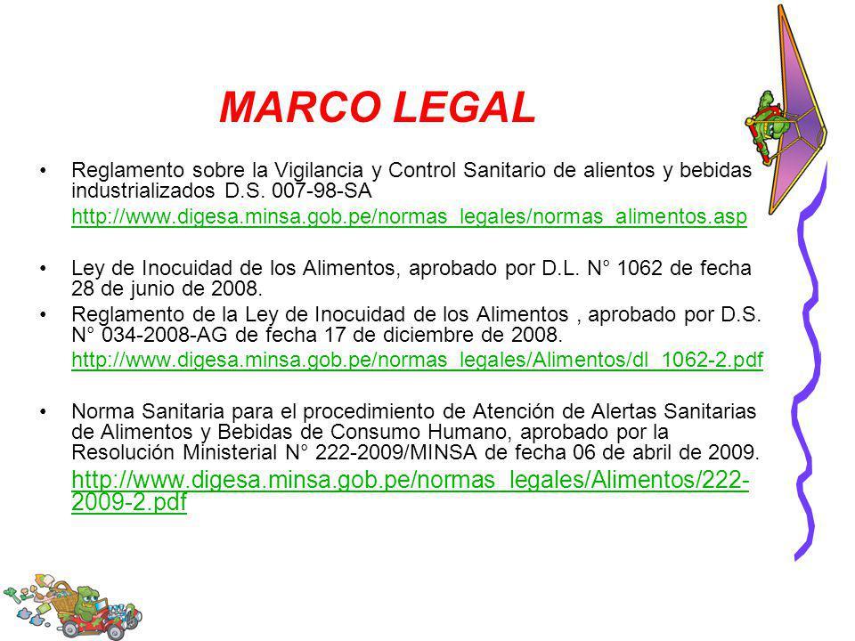 MARCO LEGAL Reglamento sobre la Vigilancia y Control Sanitario de alientos y bebidas industrializados D.S. 007-98-SA http://www.digesa.minsa.gob.pe/no