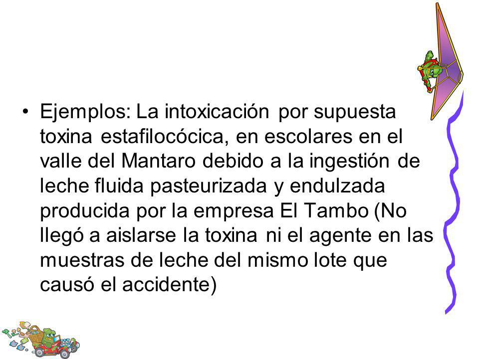 Ejemplos: La intoxicación por supuesta toxina estafilocócica, en escolares en el valle del Mantaro debido a la ingestión de leche fluida pasteurizada
