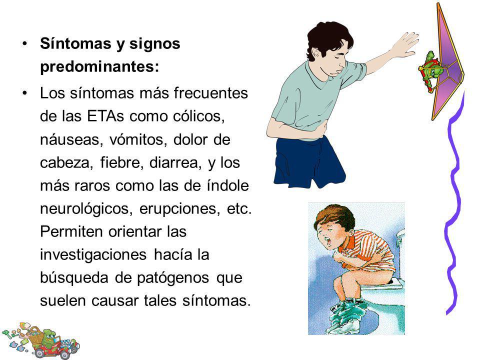 Síntomas y signos predominantes: Los síntomas más frecuentes de las ETAs como cólicos, náuseas, vómitos, dolor de cabeza, fiebre, diarrea, y los más r
