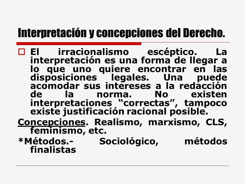 Interpretación y concepciones del Derecho.El Racionalismo extremo.