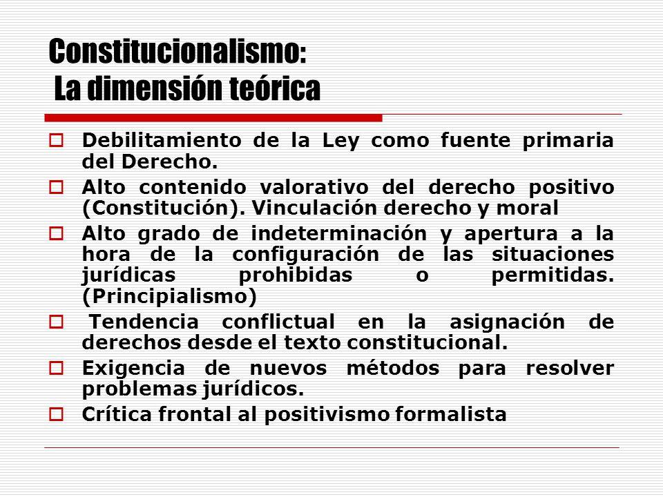Constitucionalismo: La dimensión política El valor de la Constitución como norma no sólo ordenadora sino también de contenidos materiales concretos.