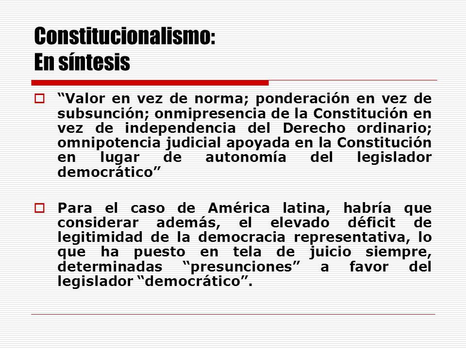 Constitucionalismo: La dimensión teórica Debilitamiento de la Ley como fuente primaria del Derecho.