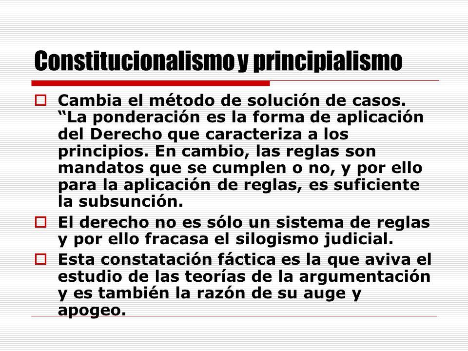 Constitucionalismo y principialismo Cambia el método de solución de casos.