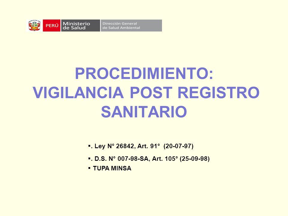 PROCEDIMIENTO: VIGILANCIA POST REGISTRO SANITARIO. Ley N° 26842, Art. 91° (20-07-97). D.S. N° 007-98-SA, Art. 105° (25-09-98) TUPA MINSA