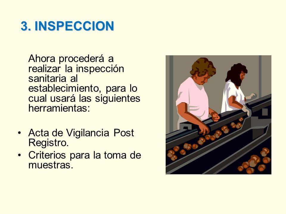 3. INSPECCION Ahora procederá a realizar la inspección sanitaria al establecimiento, para lo cual usará las siguientes herramientas: Acta de Vigilanci