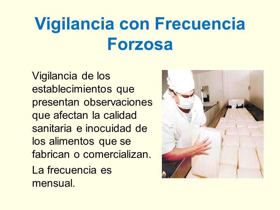Vigilancia con Frecuencia Forzosa Vigilancia de los establecimientos que presentan observaciones que afectan la calidad sanitaria e inocuidad de los a