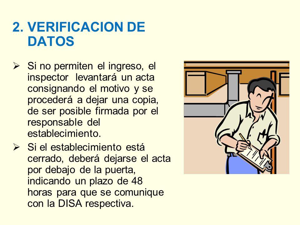 2.VERIFICACION DE DATOS Si no permiten el ingreso, el inspector levantará un acta consignando el motivo y se procederá a dejar una copia, de ser posible firmada por el responsable del establecimiento.
