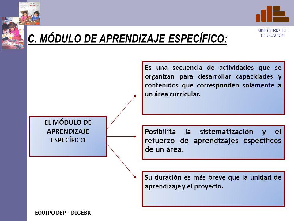 C. MÓDULO DE APRENDIZAJE ESPECÍFICO: Es una secuencia de actividades que se organizan para desarrollar capacidades y contenidos que corresponden solam