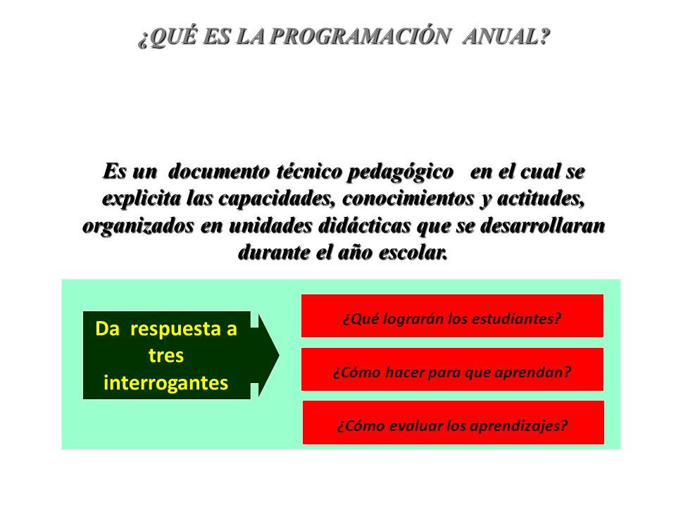 Proyecto Curricular Institucional Programación Anual PRIORIZACIÓN DE LA DEMANDA EDUCATIVA DISEÑO CURRICULAR DIVERSIFICADO POR AREA CARTEL DE VALORES Y ACTITUDES TEMASTRANSVERSALES Características y necesidades de los estudiantes Características del entorno y condiciones de la Institución Educativa INSUMOS PARA ELABORAR LA PROGRAMACIÓN ANUAL