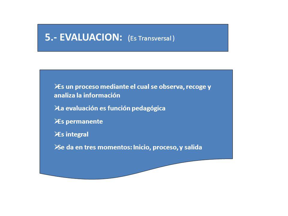 5.- EVALUACION: ( Es Transversal ) Es un proceso mediante el cual se observa, recoge y analiza la información La evaluación es función pedagógica Es p