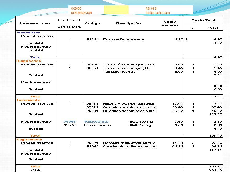 CODIGO A01 01 01 DENOMINACION Recién nacido sano