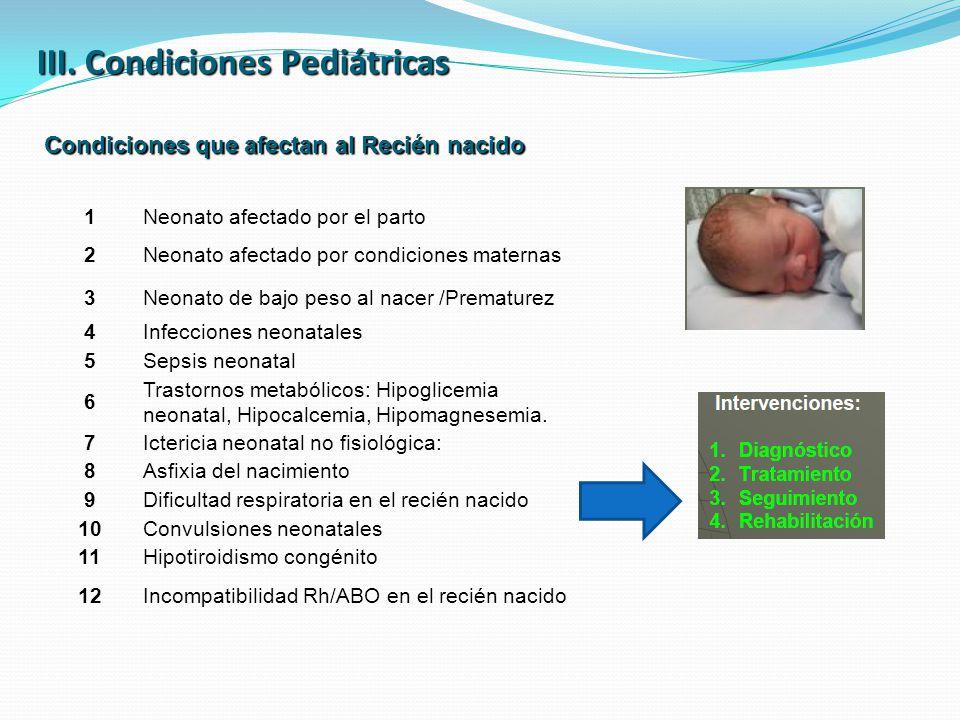III. Condiciones Pediátricas Condiciones que afectan al Recién nacido 1Neonato afectado por el parto 2Neonato afectado por condiciones maternas 3Neona