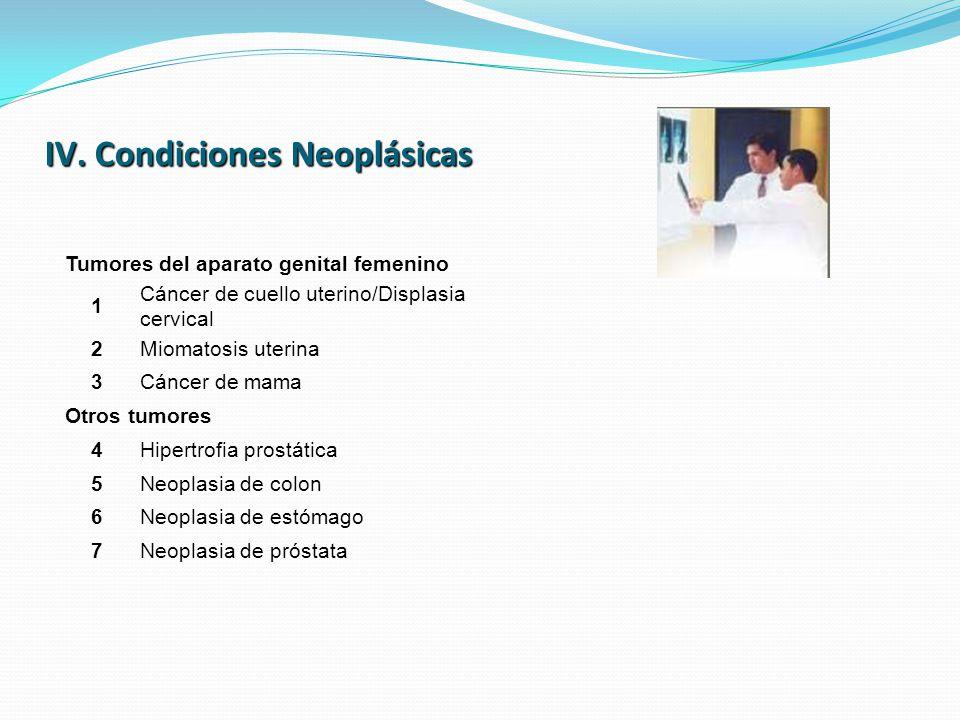 IV. Condiciones Neoplásicas Tumores del aparato genital femenino 1 Cáncer de cuello uterino/Displasia cervical 2Miomatosis uterina 3Cáncer de mama Otr