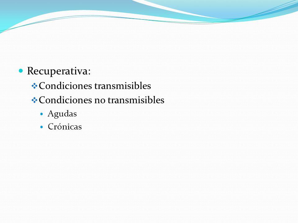 Recuperativa: Condiciones transmisibles Condiciones no transmisibles Agudas Crónicas