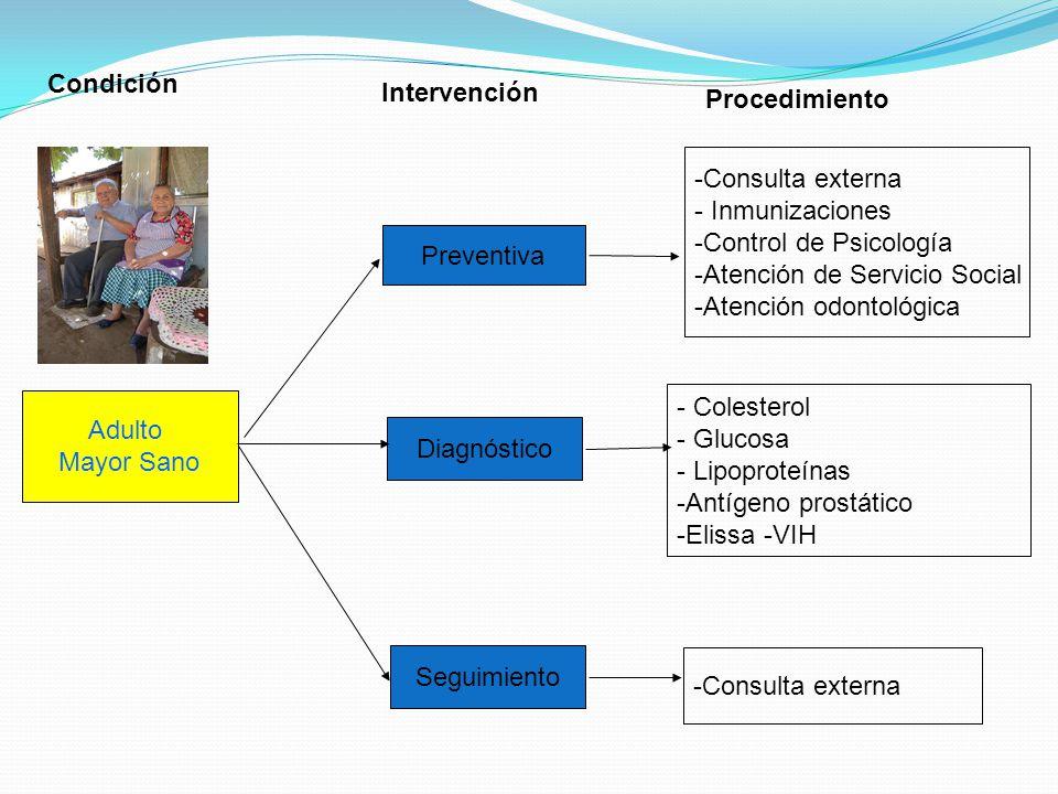 Adulto Mayor Sano Preventiva Diagnóstico Seguimiento -Consulta externa - Inmunizaciones -Control de Psicología -Atención de Servicio Social -Atención