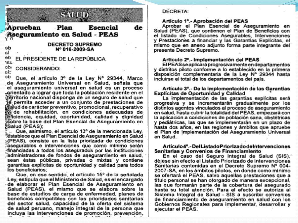 PEAS: Tipo de Intervención Preventiva Paquete de AIS del Adolescente Control de crecimiento y desarrollo Vacunación Orientación/Consejería Atención en PF Control de Psicología Atención en Salud bucal Laboratorio