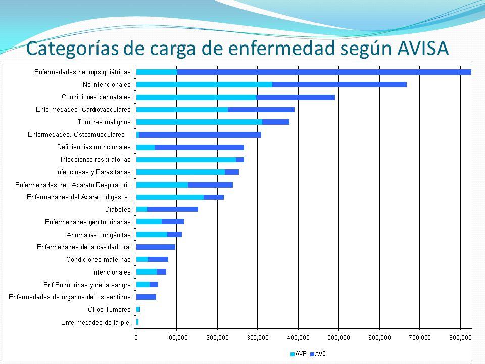 Porcentaje de AVISA según categoría de Carga de Enfermedad. Perú 2004