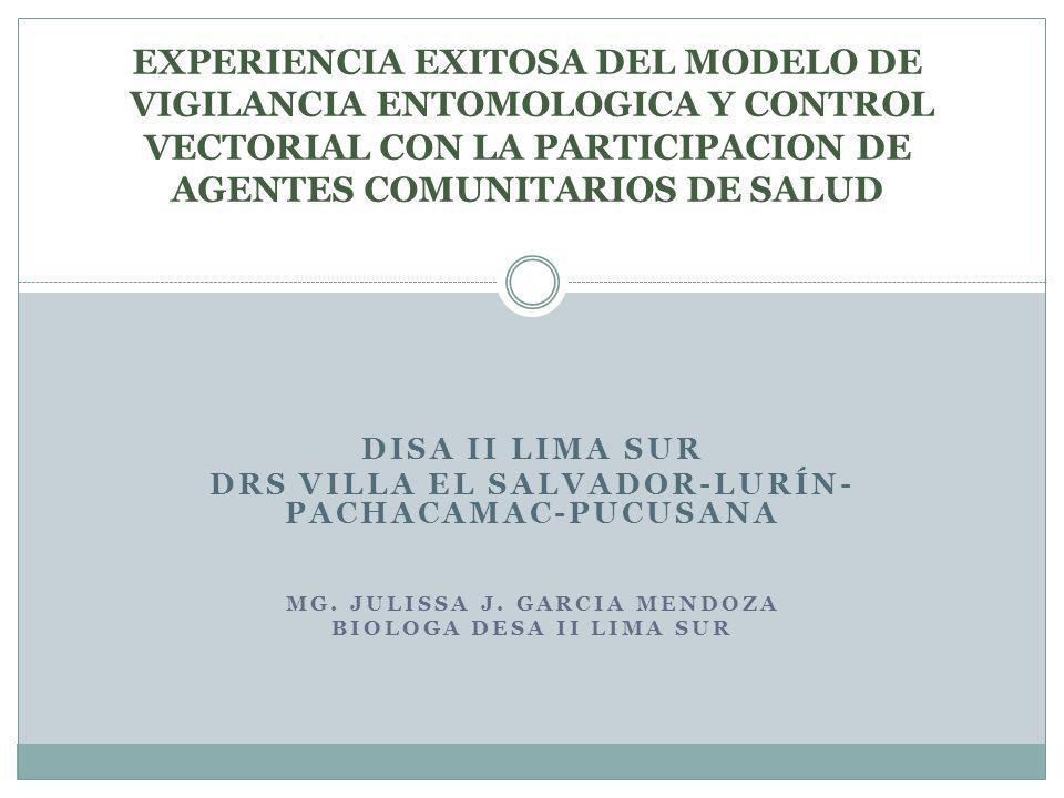 DISA II LIMA SUR DRS VILLA EL SALVADOR-LURÍN- PACHACAMAC-PUCUSANA MG. JULISSA J. GARCIA MENDOZA BIOLOGA DESA II LIMA SUR EXPERIENCIA EXITOSA DEL MODEL