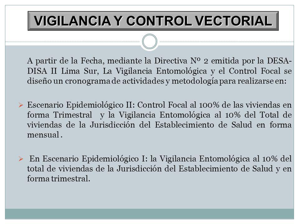 A partir de la Fecha, mediante la Directiva Nº 2 emitida por la DESA- DISA II Lima Sur, La Vigilancia Entomológica y el Control Focal se diseño un cro