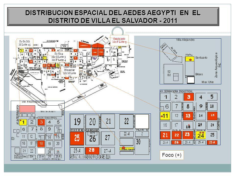 S1 G1 Mz M Lote 15 S2 G24 Mz G Lote 3 Mz F Lote 4 Santuario Mz F Lote 5 Chavin de Huantar Mz M Lote 25 Foco (+) DISTRIBUCION ESPACIAL DEL AEDES AEGYPTI EN EL DISTRITO DE VILLA EL SALVADOR - 2011
