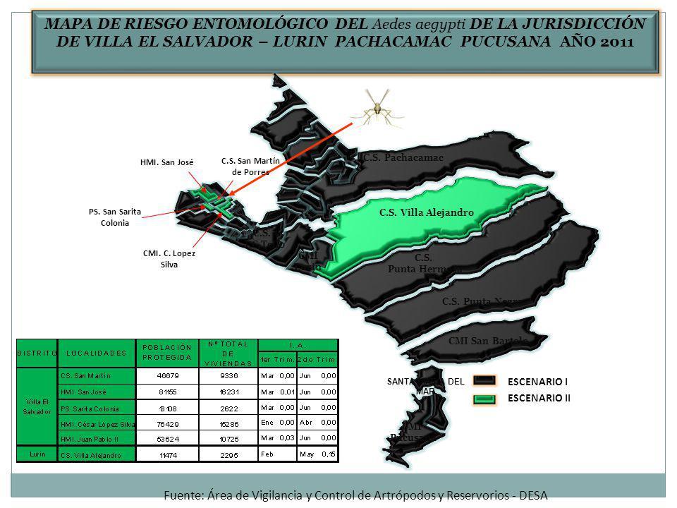 MAPA DE RIESGO ENTOMOLÓGICO DEL Aedes aegypti DE LA JURISDICCIÓN DE VILLA EL SALVADOR – LURIN PACHACAMAC PUCUSANA AÑO 2011 C.S.