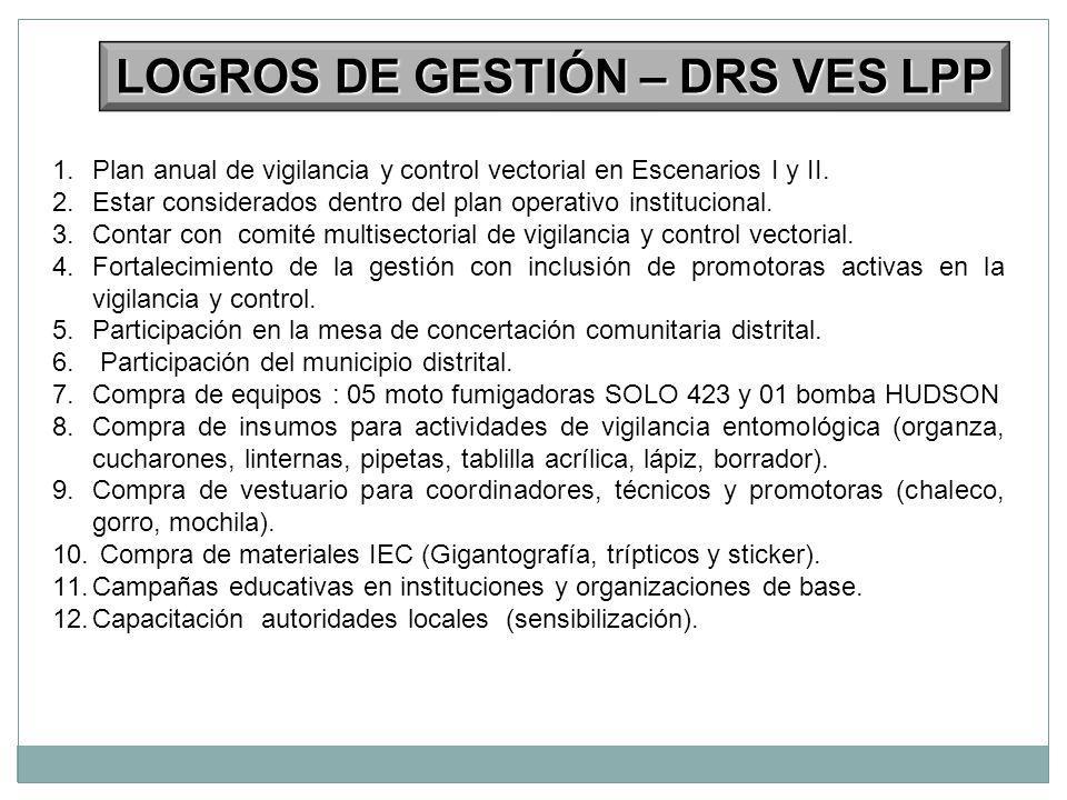 1.Plan anual de vigilancia y control vectorial en Escenarios I y II. 2.Estar considerados dentro del plan operativo institucional. 3.Contar con comité