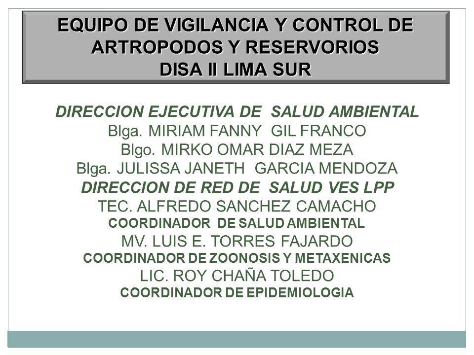 DIRECCION EJECUTIVA DE SALUD AMBIENTAL Blga.MIRIAM FANNY GIL FRANCO Blgo.