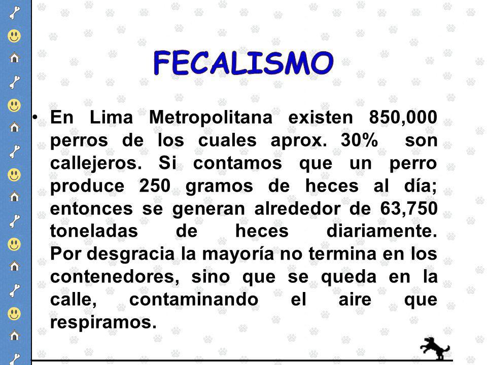 En Lima Metropolitana existen 850,000 perros de los cuales aprox. 30% son callejeros. Si contamos que un perro produce 250 gramos de heces al día; ent