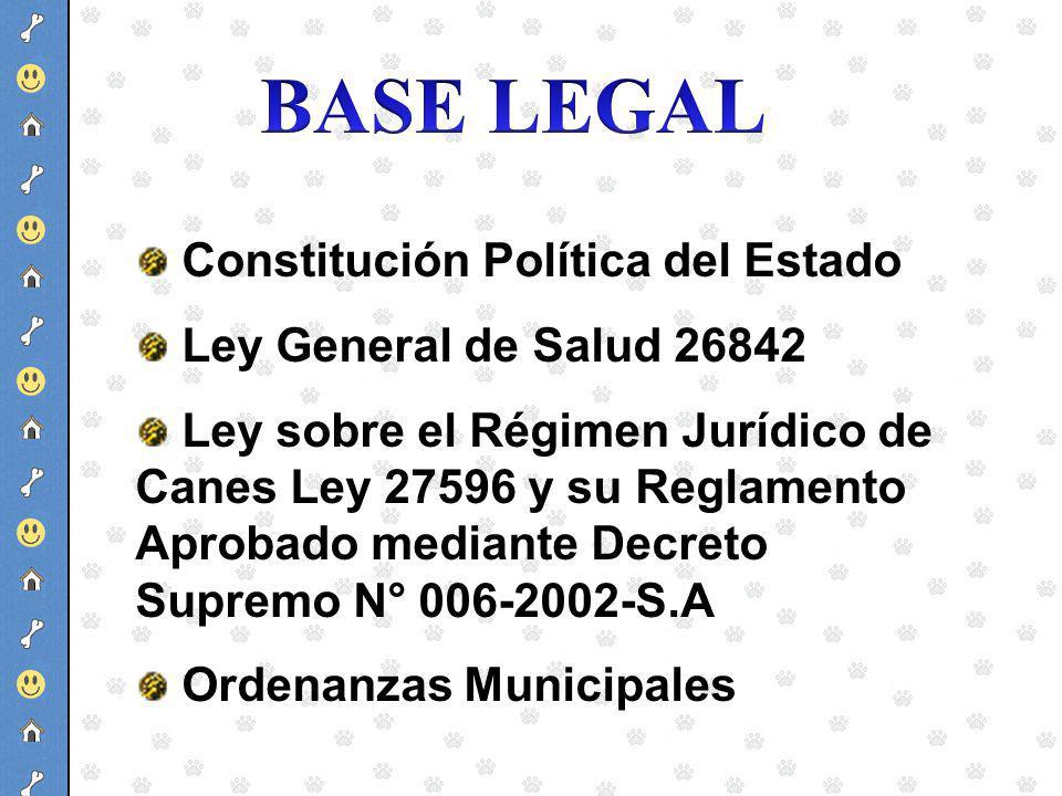 Constitución Política del Estado Ley General de Salud 26842 Ley sobre el Régimen Jurídico de Canes Ley 27596 y su Reglamento Aprobado mediante Decreto
