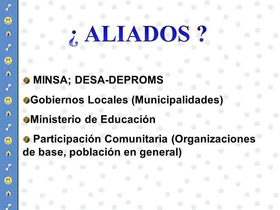 MINSA; DESA-DEPROMS Gobiernos Locales (Municipalidades) Ministerio de Educación Participación Comunitaria (Organizaciones de base, población en genera