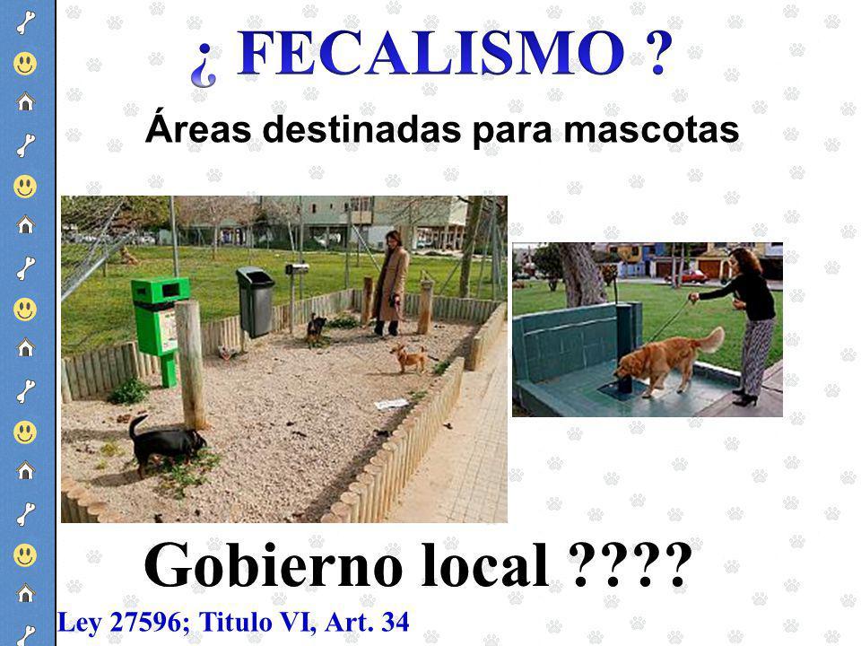 Áreas destinadas para mascotas Ley 27596; Titulo VI, Art. 34