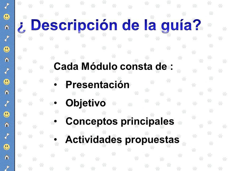 Cada Módulo consta de : Presentación Objetivo Conceptos principales Actividades propuestas