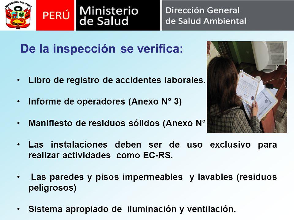 Libro de registro de accidentes laborales. Informe de operadores (Anexo N° 3) Manifiesto de residuos sólidos (Anexo N° 2). Las instalaciones deben ser