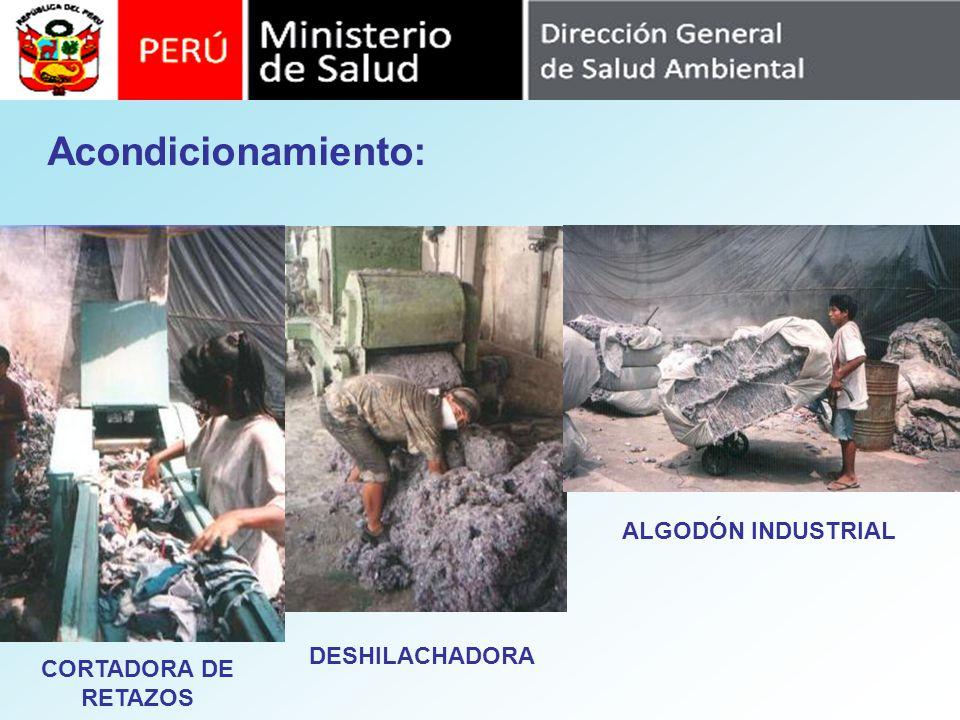 DESHILACHADORA Acondicionamiento: CORTADORA DE RETAZOS ALGODÓN INDUSTRIAL