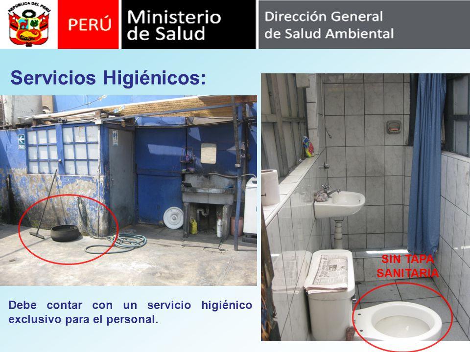 Servicios Higiénicos: SIN TAPA SANITARIA Debe contar con un servicio higiénico exclusivo para el personal.