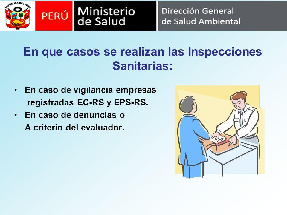 En que casos se realizan las Inspecciones Sanitarias: En caso de vigilancia empresas registradas EC-RS y EPS-RS. En caso de denuncias o A criterio del