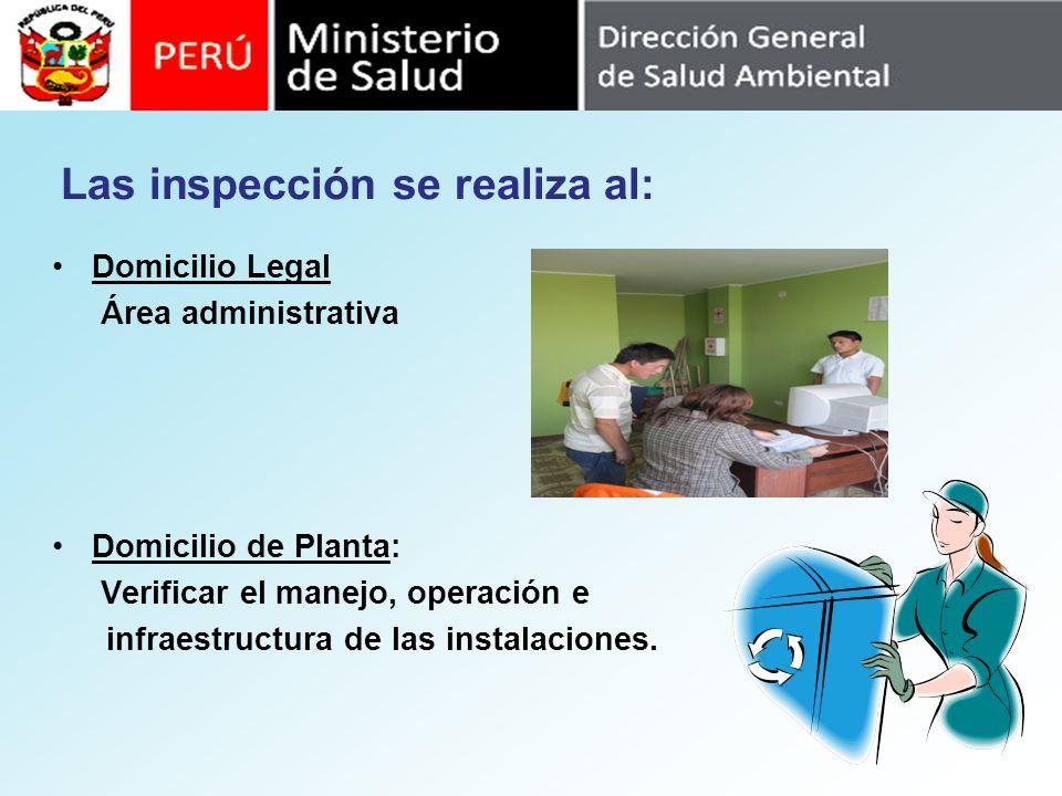 Las inspección se realiza al: Domicilio Legal Área administrativa Domicilio de Planta: Verificar el manejo, operación e infraestructura de las instala