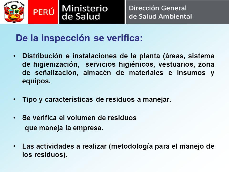 De la inspección se verifica: Distribución e instalaciones de la planta (áreas, sistema de higienización, servicios higiénicos, vestuarios, zona de se