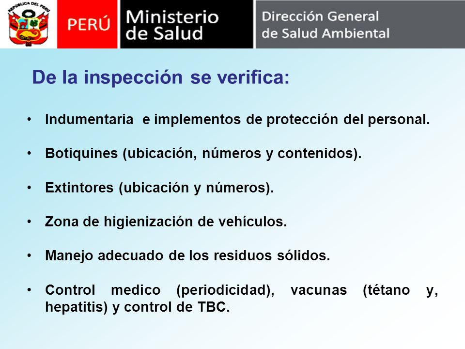 Indumentaria e implementos de protección del personal. Botiquines (ubicación, números y contenidos). Extintores (ubicación y números). Zona de higieni