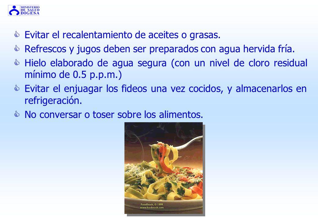 Preparación Final Trabajar con higiene estricta, especialmente platos crudos. Los alimentos deben estar completamente cocidos, especialmente las carne