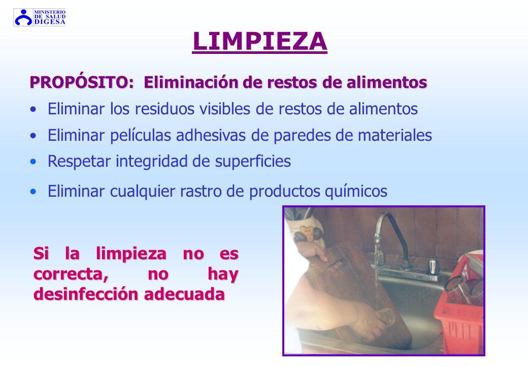 FASES DE LA HIGIENE PRELIMPIEZA = eliminación grosera de suciedad LIMPIEZA PRINCIPAL = separación de grasa y suciedad empleando un detergente ENJUAGAD