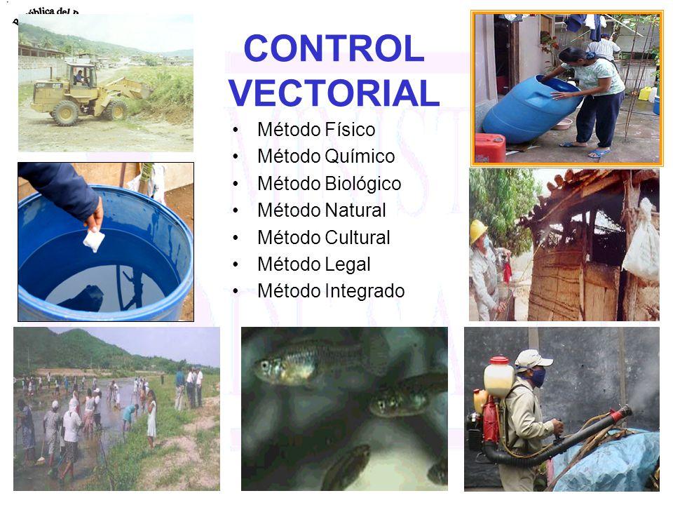 CONTROL VECTORIAL Método Físico Método Químico Método Biológico Método Natural Método Cultural Método Legal Método Integrado
