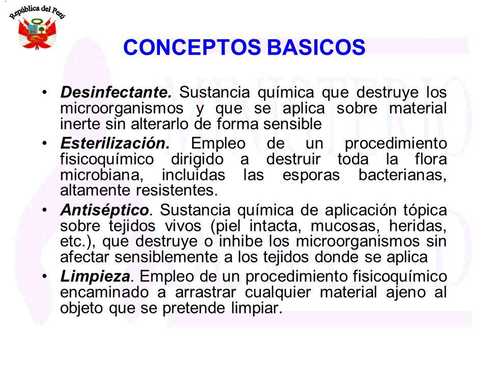 CONCEPTOS BASICOS Desinfectante. Sustancia química que destruye los microorganismos y que se aplica sobre material inerte sin alterarlo de forma sensi