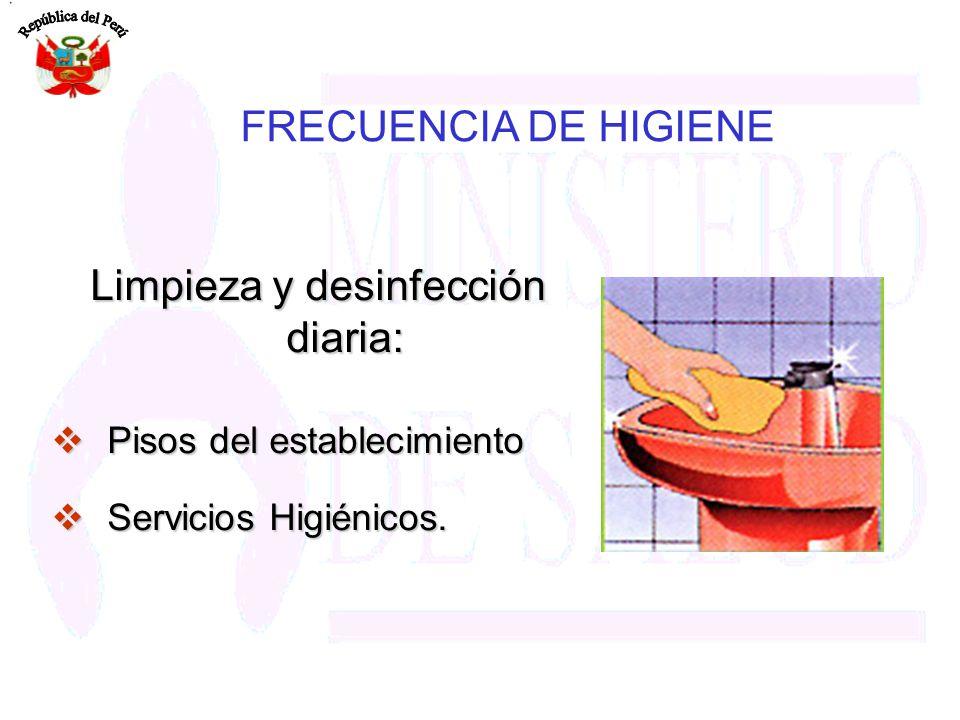 Limpieza y desinfección diaria: Pisos del establecimiento Pisos del establecimiento Servicios Higiénicos. Servicios Higiénicos. FRECUENCIA DE HIGIENE